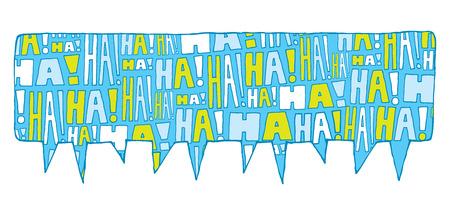 reir: Ilustración de dibujos animados de la burbuja del discurso lleno de risas