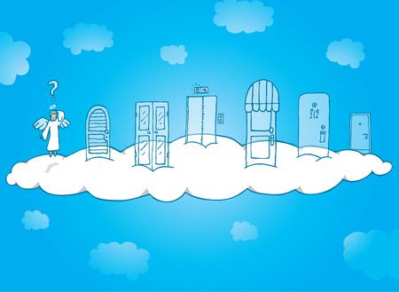Cartoon illustration of an angel choosing his fate knocking on heavens doors Illustration