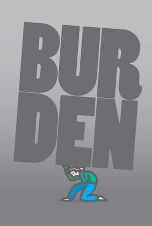 burden: Cartoon illustration of a crawling man bearing a burden word Illustration