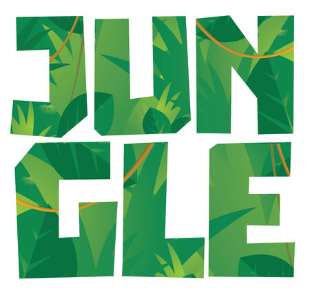 rear end: Cartoon illustration of jungle word with background vegetation Illustration