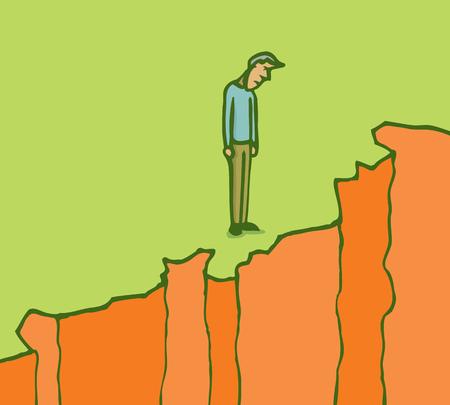 생각에 잠겨있는: 잠겨있는 남자의 만화 그림은 절벽의 가장자리를 내려다보고