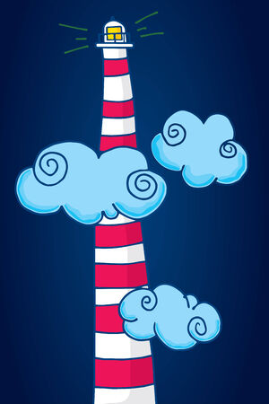 tall: Cartoon illustration of a tall lighthouse light among clouds