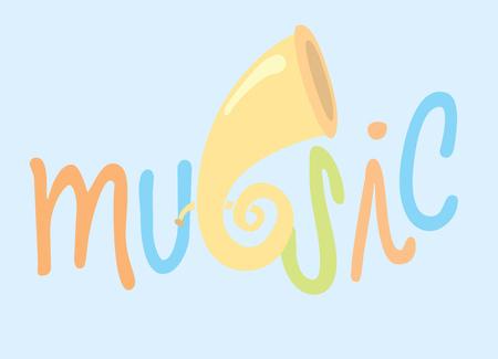 blaasinstrument: Cartoon illustratie van muziek en schattig blaasinstrument