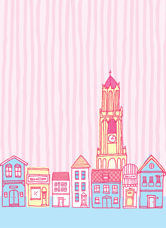 clock tower: Cartoon illustration of a cute colorful vintage town with clock tower
