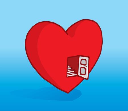 mid air: Cartoon ilustraci�n de una puerta abierta al coraz�n y escaleras Vectores