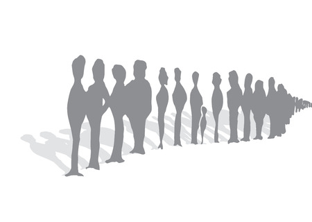 to queue: Cartoon illustration of endless queue of waiting unrecognizable people silhouettes