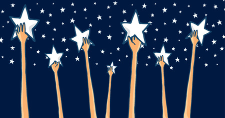 stars sky: Cartoon illustration of group of hands reaching for the stars seeking success or catching dreams