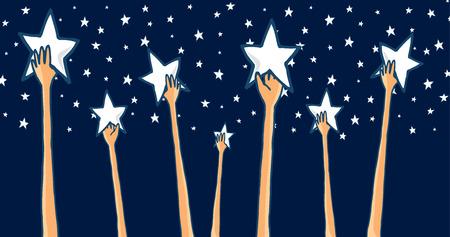 Cartoon ilustrace skupiny rukou dosáhnout na hvězdy hledají úspěch nebo lov sny