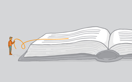 between: Cartoon illustration of small man understanding and interpreting a book by reading between the lines