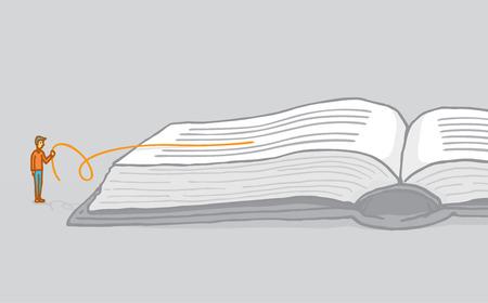 Cartoon illustrazione di piccola comprensione dell'uomo e interpretare un libro leggendo tra le righe Archivio Fotografico - 35479489