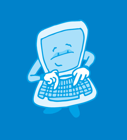 typing on computer: Cartoon illustration of self aware intelligent computer typing on its keyboard Illustration