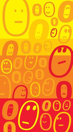 face expressions: Ilustraci�n de dibujos animados de un mont�n de expresiones de la cara del emoticon agrupados Vectores