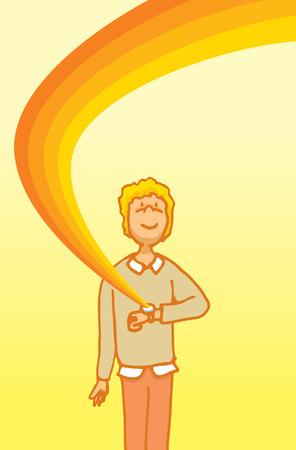 capabilities: Cartoon illustration of a man enjoying his technology smart watch capabilities