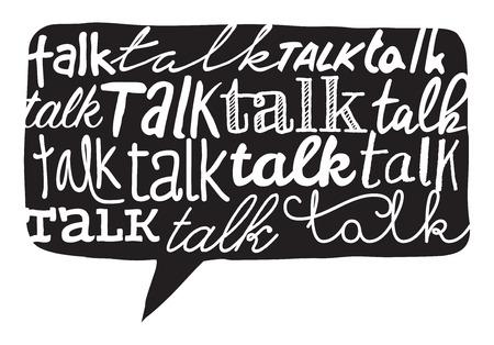 multiple personality: Cartoon illustration of multiple handwritten talk word