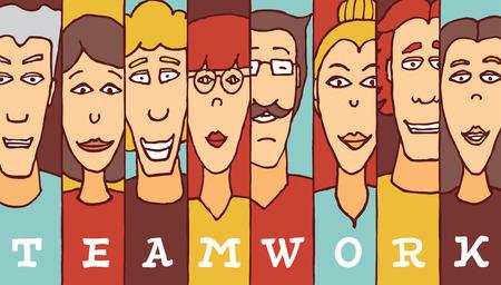 teamwork cartoon: Cartoon illustration of diverse people forming teamwork word