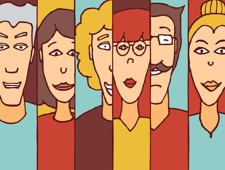 gender identity: Cartoon illustration of diverse people faces as a colorful team