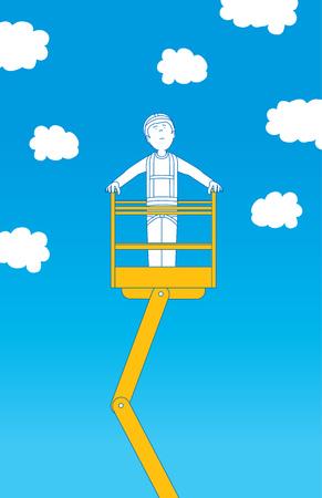 rosnąco: Ilustracja Cartoon pracownik budowlany rosnąco do chmur na dźwigu Ilustracja