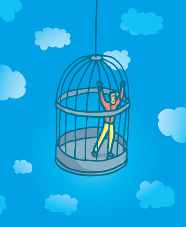 prisoner man: Cartoon illustration of prisoner man locked on bird cage