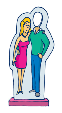 absent: Cartoon illustration of cardboard stand up couple with absent man Illustration