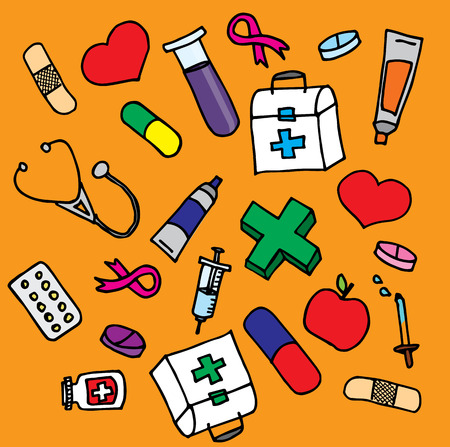 Cartoon illustration of several simple medical objects