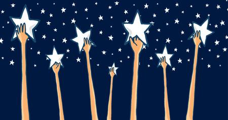 꿈을 별에 도달하는 성공을 추구 또는 잡는 손의 그룹의 만화 그림