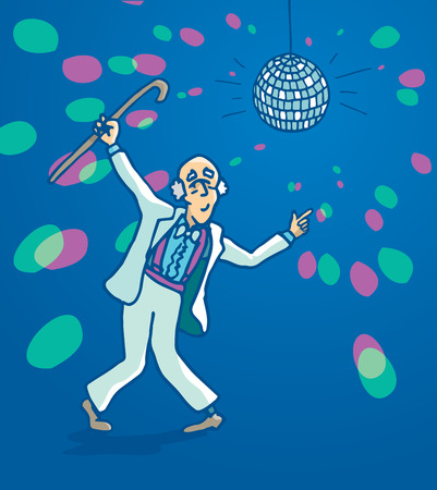seniority: Cartoon illustration of a funny active senior man disco dancing