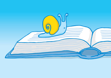 slow: Cartoon illustration of a snail crawling on book as slow reader