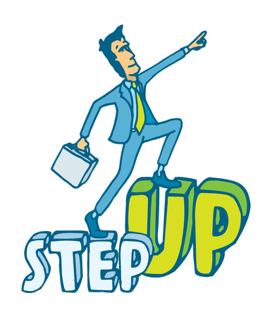 Cartoon illustration of a businessman ready to step up on word aiming high 向量圖像