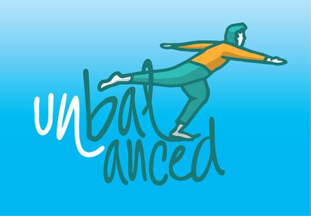 Cartoon illustration of an unbalanced man balancing on word