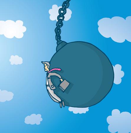 empresario triste: Ilustraci�n de dibujos animados de hombre de negocios triste empujado por enorme bola de demolici�n Vectores