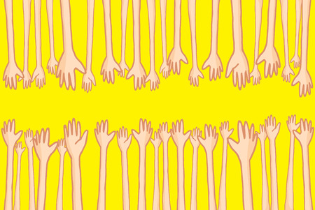 reaching out: Cartoon illustration of large group of hands reaching out and helping people connecting