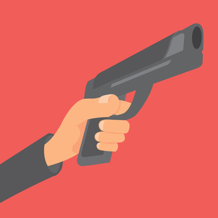 Cartoon illustration of hand holding a gun about to shoot Vector