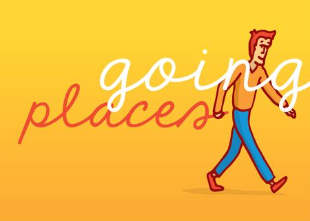 resilient: Cartoon illustration of determined man walking and going places