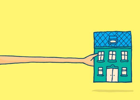 droomhuis: Cartoon illustratie van de man die zich uitstrekt een zeer lange arm om zijn droomhuis te bereiken