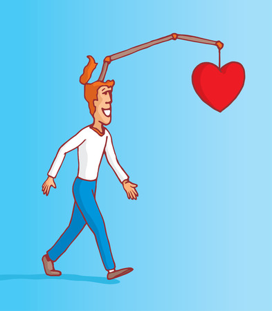 following: Cartoon illustration of man following his own heart and emotions