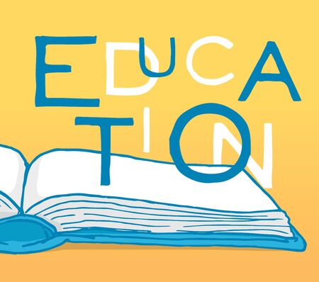 literate: Cartoon illustration of education word over an open book