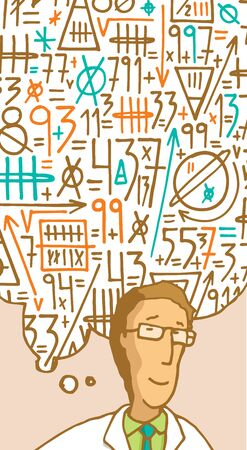 information symbol: Cartoon illustration of scientist formulating a complex mathematical thought in his mind