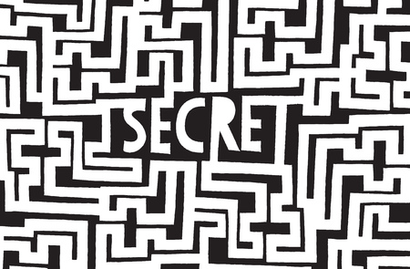 secret word: Cartoon illustration of buried secret word hidden in complex maze