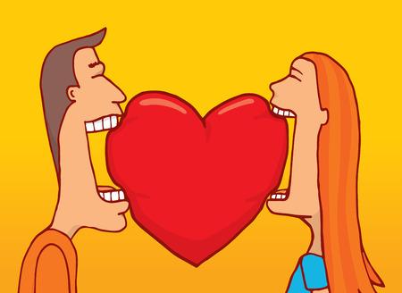 마음의 물기를 공유하는 사랑에 부부의 만화 그림