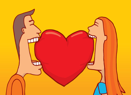 open your heart: Cartoon illustration of a couple in love sharing a bite of heart