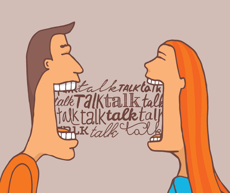 mouth  open: Cartoon illustration of couple talking a lot and sharing a meaningful conversation