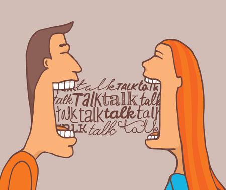 Illustration de bande dessinée d'un couple parlant beaucoup et en partageant une conversation significative Vecteurs