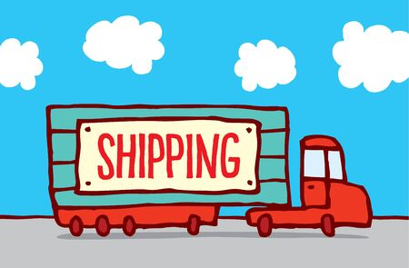 commerce and industry: Cartoon illustration of shipping truck on the road with transportation sign