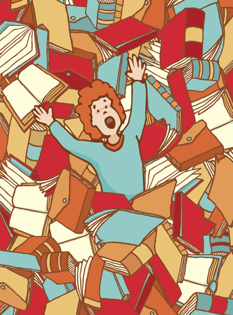 Cartoon illustration of guy reaching for help drowning on books Illustration