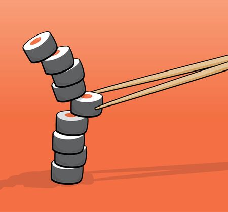 unbalanced: Cartoon illustration of a sushi tower thrown out of balance by chopsticks