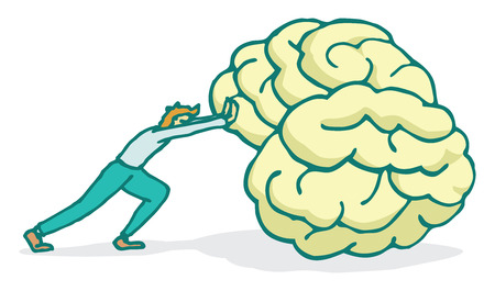 neuroscience: Cartoon illustration of a man making a huge effort while pushing a big brain