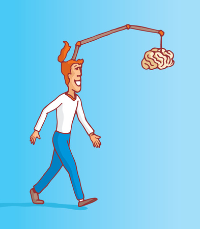 procrastination: Cartoon illustration of man walking and chasing his on brain procrastination Illustration