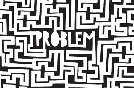 Cartoon illustration of a problem hidden in complex maze Illustration