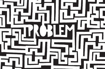 Ilustración de dibujos animados de un problema oculto en complejo laberinto