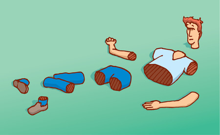 thrown: Cartoon illustration of cut man thrown on the floor into pieces Illustration